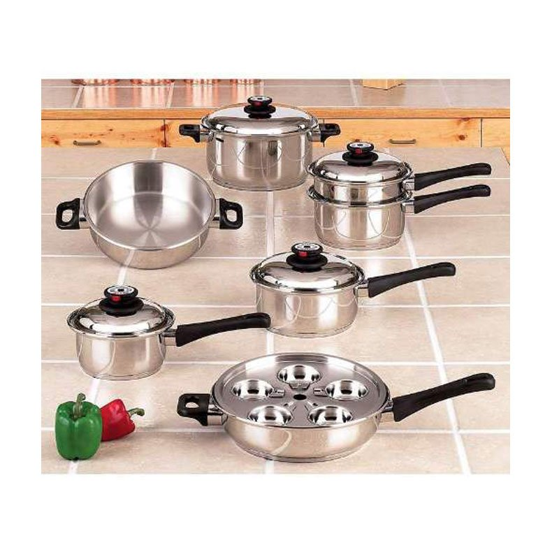 Maxam 5 ply 17pc steam control waterless cookware set for All kitchen set